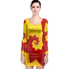 Flower Blossom Spiral Design  Red Yellow Long Sleeve Bodycon Dress