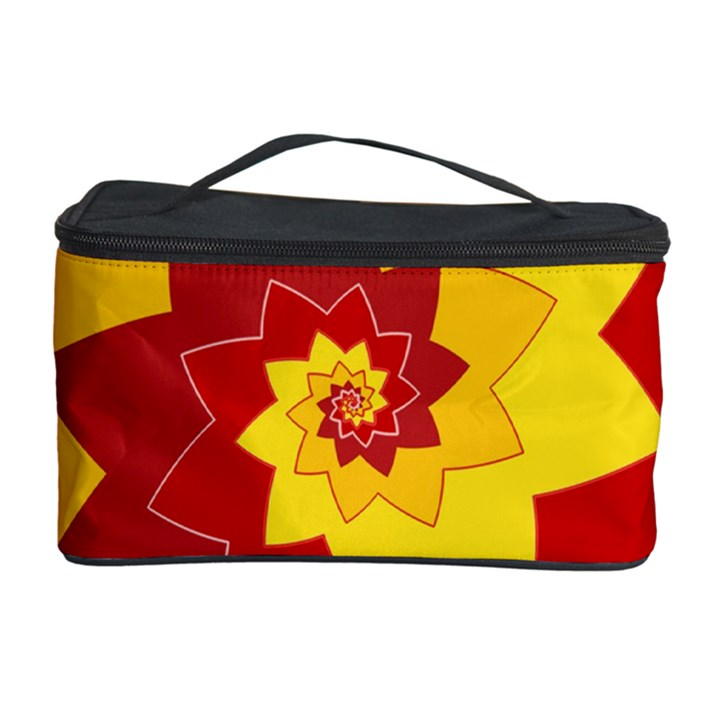 Flower Blossom Spiral Design  Red Yellow Cosmetic Storage Case