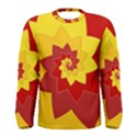 Flower Blossom Spiral Design  Red Yellow Men s Long Sleeve Tee View1
