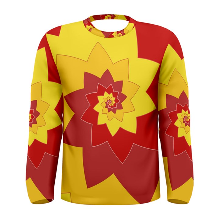 Flower Blossom Spiral Design  Red Yellow Men s Long Sleeve Tee