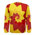 Flower Blossom Spiral Design  Red Yellow Men s Long Sleeve Tee View2