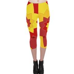 Flower Blossom Spiral Design  Red Yellow Capri Leggings