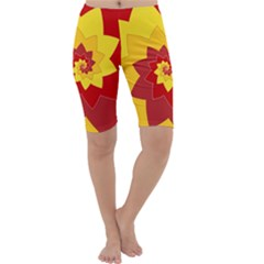 Flower Blossom Spiral Design  Red Yellow Cropped Leggings