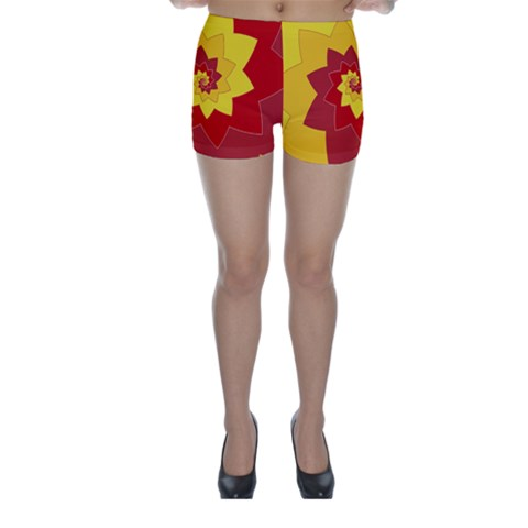 Flower Blossom Spiral Design  Red Yellow Skinny Shorts