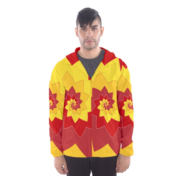 Flower Blossom Spiral Design  Red Yellow Hooded Wind Breaker (Men)