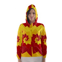 Flower Blossom Spiral Design  Red Yellow Hooded Wind Breaker (Women)