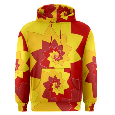Flower Blossom Spiral Design  Red Yellow Men s Pullover Hoodie