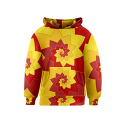 Flower Blossom Spiral Design  Red Yellow Kids  Pullover Hoodie