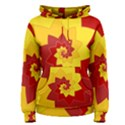 Flower Blossom Spiral Design  Red Yellow Women s Pullover Hoodie View1