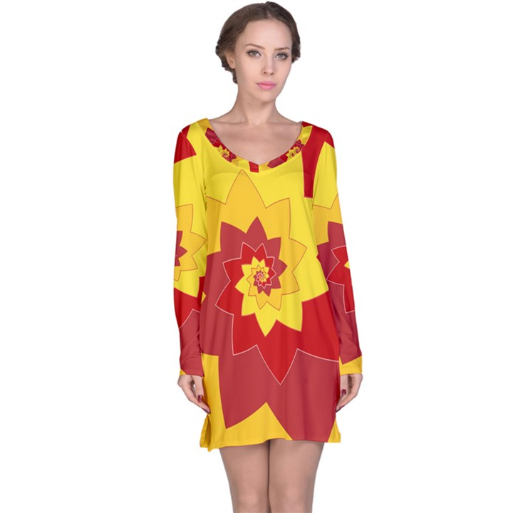 Flower Blossom Spiral Design  Red Yellow Long Sleeve Nightdress