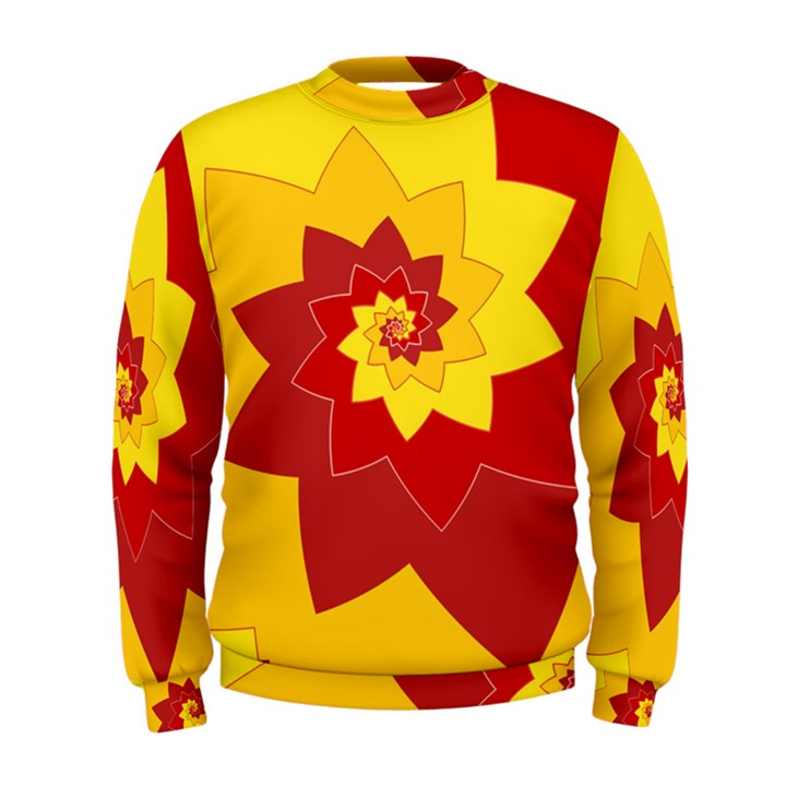 Flower Blossom Spiral Design  Red Yellow Men s Sweatshirt