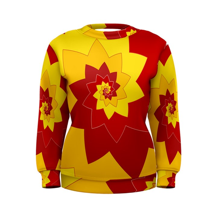 Flower Blossom Spiral Design  Red Yellow Women s Sweatshirt
