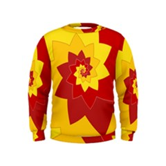 Flower Blossom Spiral Design  Red Yellow Kids  Sweatshirt