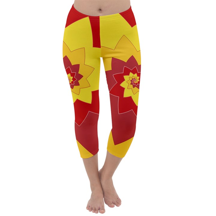Flower Blossom Spiral Design  Red Yellow Capri Winter Leggings