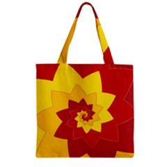 Flower Blossom Spiral Design  Red Yellow Zipper Grocery Tote Bag