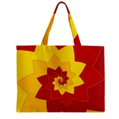 Flower Blossom Spiral Design  Red Yellow Zipper Mini Tote Bag