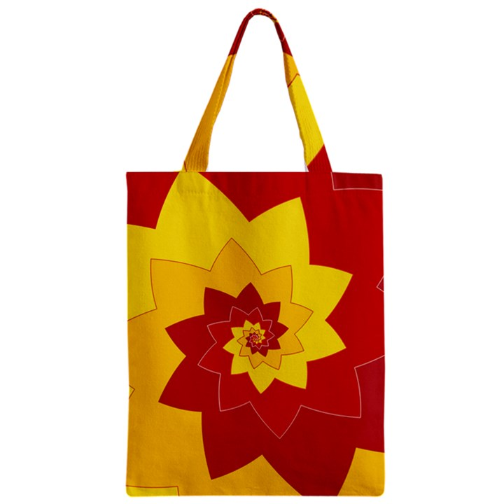 Flower Blossom Spiral Design  Red Yellow Zipper Classic Tote Bag