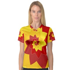 Flower Blossom Spiral Design  Red Yellow Women s V-Neck Sport Mesh Tee