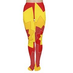Flower Blossom Spiral Design  Red Yellow Women s Tights