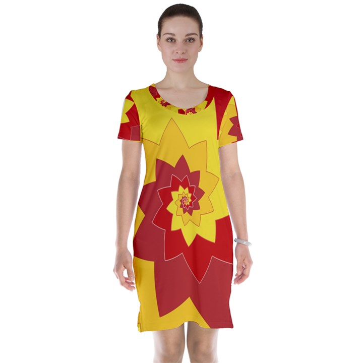 Flower Blossom Spiral Design  Red Yellow Short Sleeve Nightdress