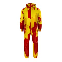 Flower Blossom Spiral Design  Red Yellow Hooded Jumpsuit (Kids)