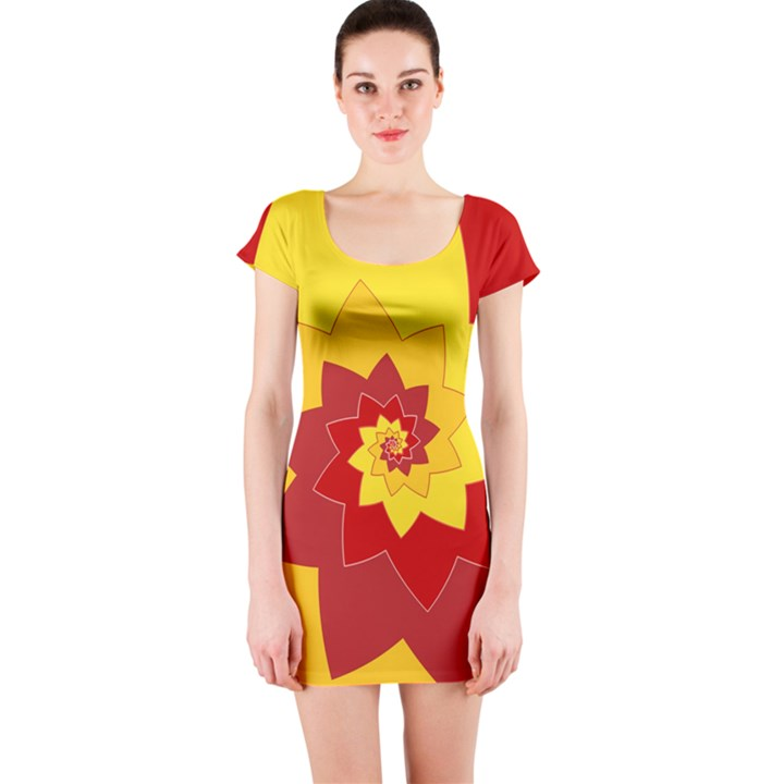 Flower Blossom Spiral Design  Red Yellow Short Sleeve Bodycon Dress