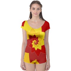 Flower Blossom Spiral Design  Red Yellow Boyleg Leotard