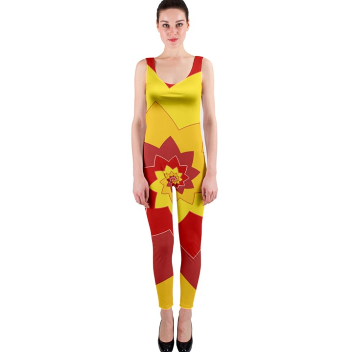 Flower Blossom Spiral Design  Red Yellow OnePiece Catsuit