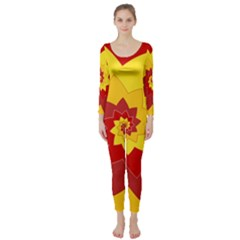 Flower Blossom Spiral Design  Red Yellow Long Sleeve Catsuit