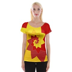 Flower Blossom Spiral Design  Red Yellow Women s Cap Sleeve Top