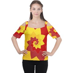 Flower Blossom Spiral Design  Red Yellow Women s Cutout Shoulder Tee