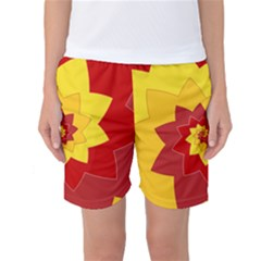 Flower Blossom Spiral Design  Red Yellow Women s Basketball Shorts