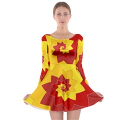 Flower Blossom Spiral Design  Red Yellow Long Sleeve Skater Dress
