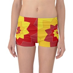 Flower Blossom Spiral Design  Red Yellow Boyleg Bikini Bottoms