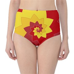 Flower Blossom Spiral Design  Red Yellow High-Waist Bikini Bottoms