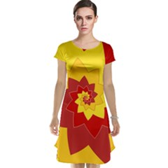 Flower Blossom Spiral Design  Red Yellow Cap Sleeve Nightdress