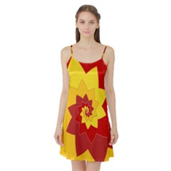 Flower Blossom Spiral Design  Red Yellow Satin Night Slip