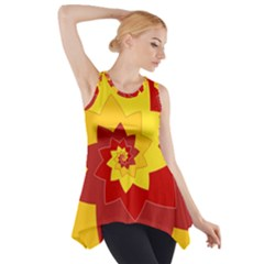 Flower Blossom Spiral Design  Red Yellow Side Drop Tank Tunic