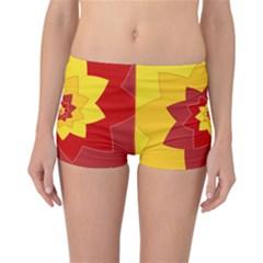 Flower Blossom Spiral Design  Red Yellow Reversible Boyleg Bikini Bottoms