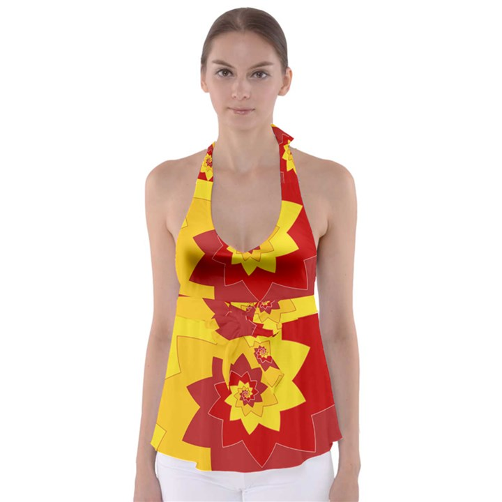 Flower Blossom Spiral Design  Red Yellow Babydoll Tankini Top