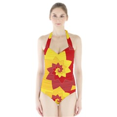 Flower Blossom Spiral Design  Red Yellow Halter Swimsuit