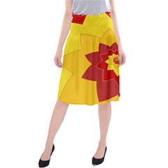 Flower Blossom Spiral Design  Red Yellow Midi Beach Skirt