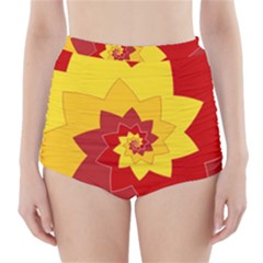 Flower Blossom Spiral Design  Red Yellow High Waisted Bikini Bottoms