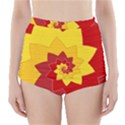Flower Blossom Spiral Design  Red Yellow High-Waisted Bikini Bottoms View1