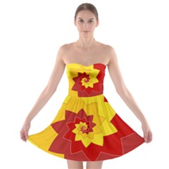 Flower Blossom Spiral Design  Red Yellow Strapless Bra Top Dress