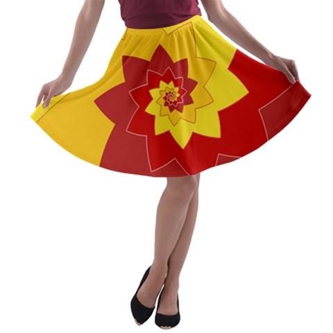 Flower Blossom Spiral Design  Red Yellow A-line Skater Skirt
