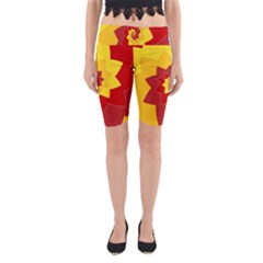 Flower Blossom Spiral Design  Red Yellow Yoga Cropped Leggings