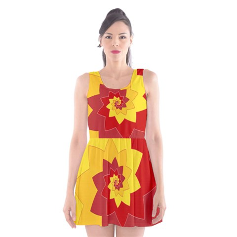 Flower Blossom Spiral Design  Red Yellow Scoop Neck Skater Dress