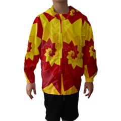 Flower Blossom Spiral Design  Red Yellow Hooded Wind Breaker (kids)