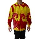Flower Blossom Spiral Design  Red Yellow Hooded Wind Breaker (Kids) View1